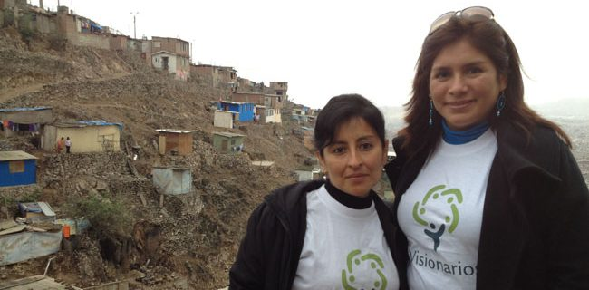"""""""Through the visit of Dartmouth students and teachers, we have seen the meaning of solidarity and the commitment of a true global citizen. Together, we will discover the priority needs of the community and support them to find practical solutions that lead to improved quality of life.""""  --Malena Ramos (right), director general of Los Visionarios in Peru. Ramos is joined here by fellow Visionarios community leader, Lorena Mestanza Cordova. The Geisel School of Medicine is teaming up with Visionarios to build a library in one of the most underserved areas of Lima."""