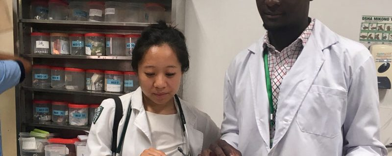 Dora Huang MED '19 reviews a patient chart with a fellow medical student at Muhimbili's Academic Medical Center, in Dar es Salaam, Tanzania.