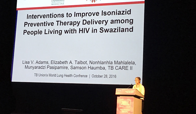 Lisa Adams presents at the 2016 TB Union's World Conference on Lung Health on her collaborative research on tuberculosis care delivery in Swaziland, in Liverpool, UK.