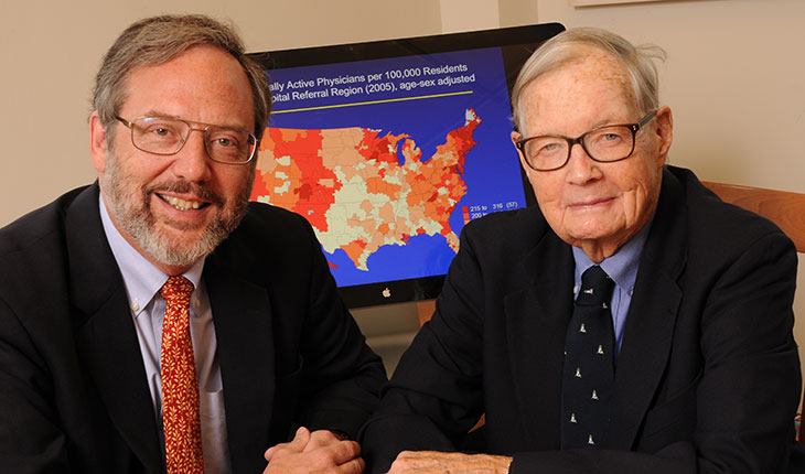 "David Goodman, MD, MS, co-principal investigator for the Dartmouth Atlas, with Richard ""Dick"" Fleming (D'53)."