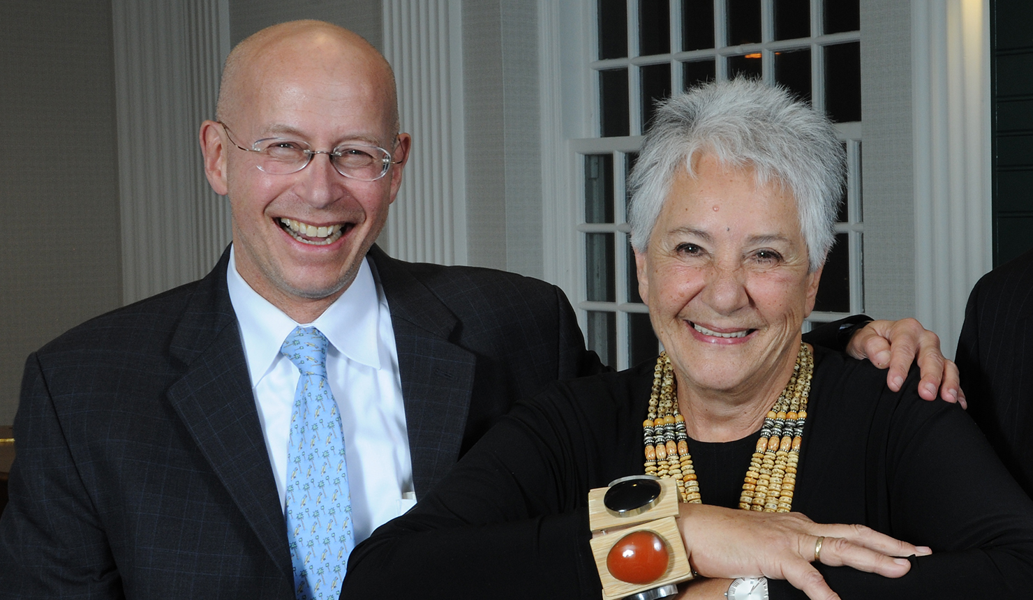 Dr. Andrew Pachner and Selma  Bornstein celebrate the creation of the the Murray B. Bornstein Professorship, which honors her late husband. Photo credit: Jon Gilbert Fox
