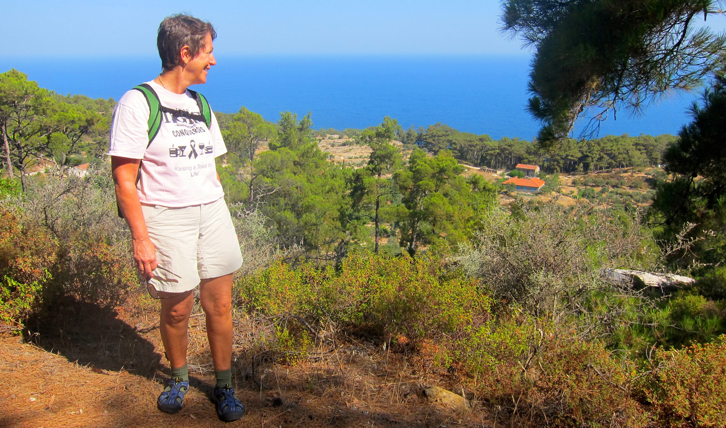 Dani Capsis Ligett hiked on a remote Greek island last year for her Virtual Prouty.