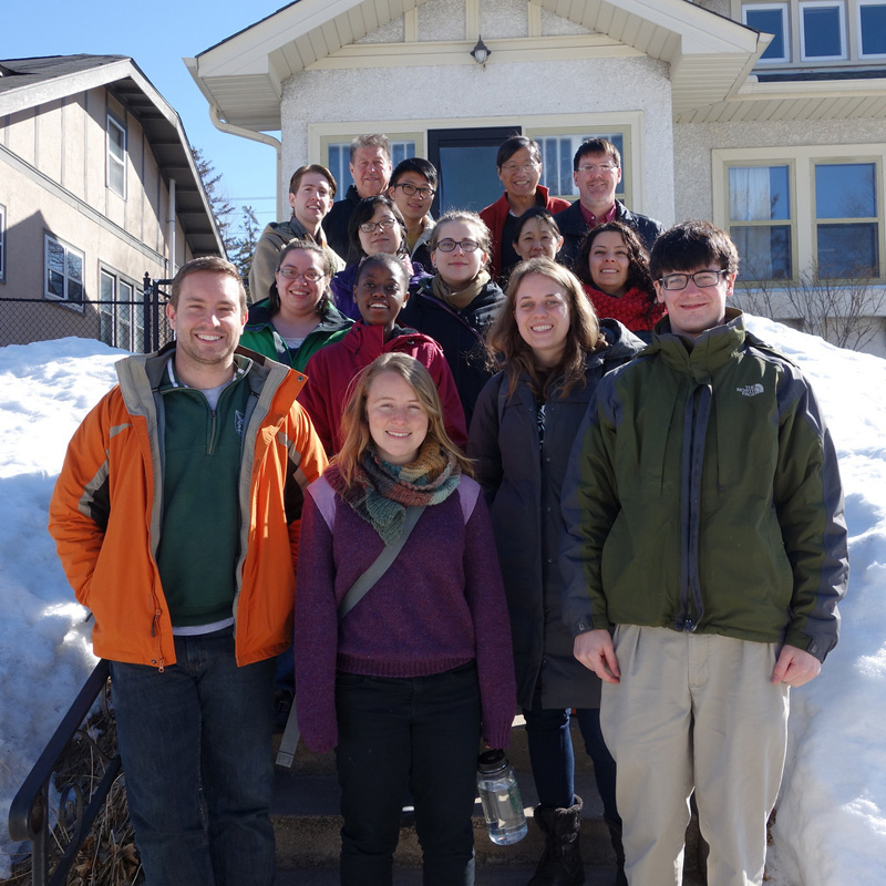 Geisel students in Minneapolis with Shawn O'Leary (upper right) at the start of their alternative spring break experience in March, 2014.