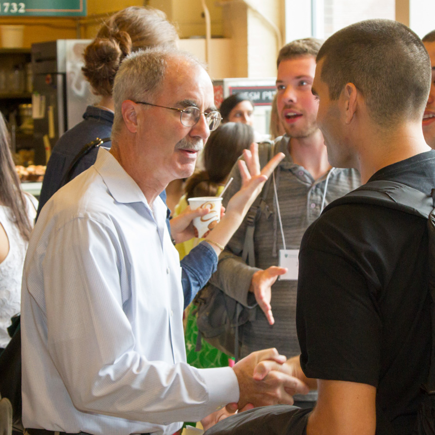 Dartmouth President Phil Hanlon greeted students before orientation.
