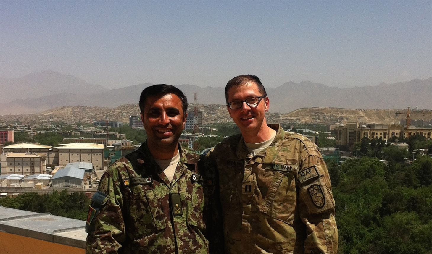 David Royal (right) with Major Hazrat, an Afghan physician. The two are working together to improve quality of care in Kabul.