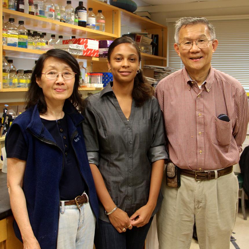 Elaina Melton with Catherine and Ta-Yuan Chang.