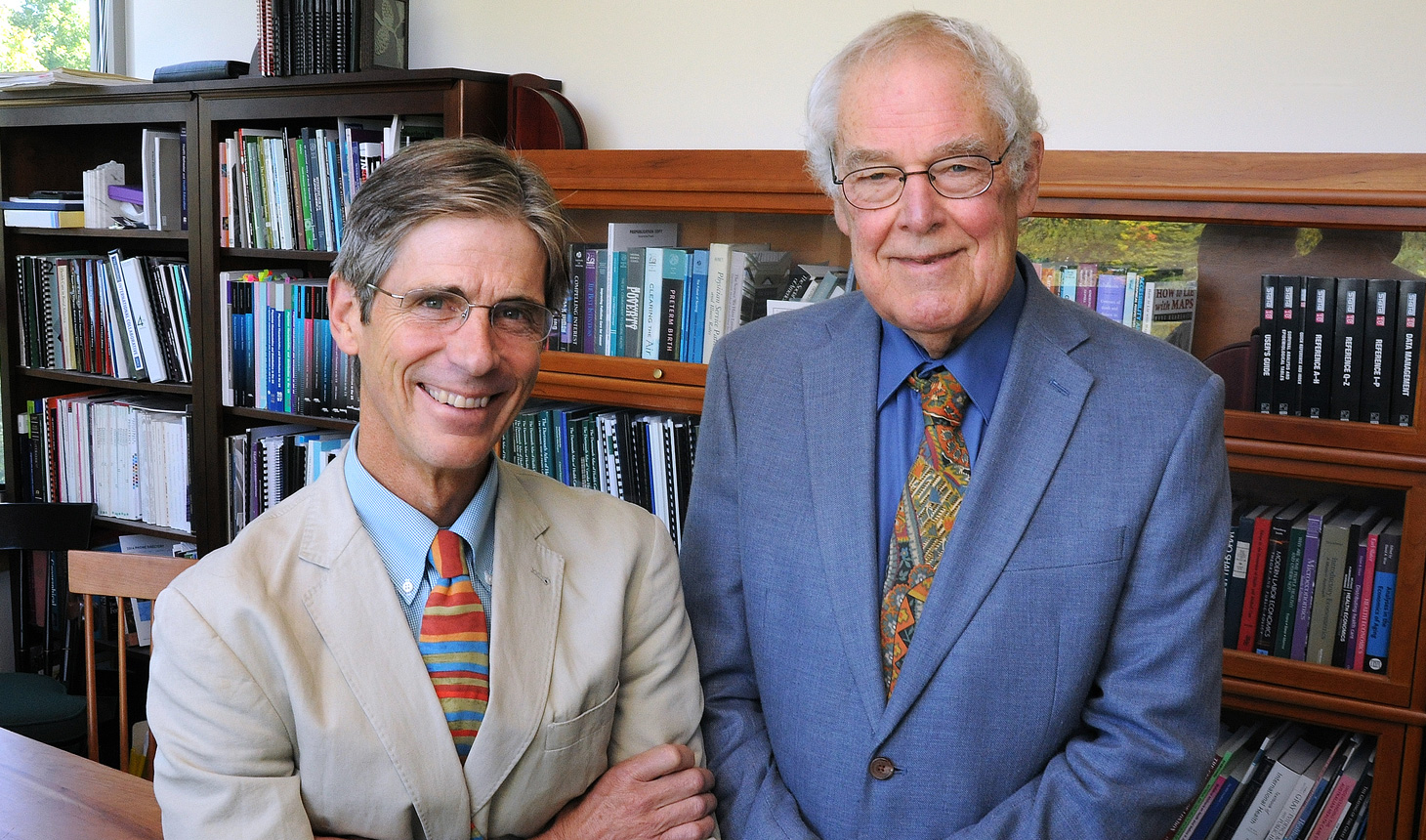 Elliott Fisher (l) and John Wennberg (r). Fisher has been named the inaugural holder of the John E. Wennberg Distinguished Professorship at Dartmouth's Geisel School of Medicine.