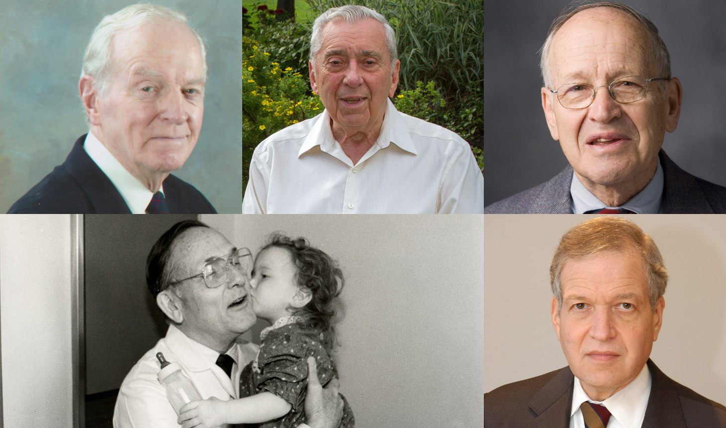 Geisel's Alumni Council will present its inaugural alumni achievement awards to these distinguished alumni: (top left to right) John M. Moran, MD, D'54, MED'55, James C. Strickler, MD, DC'50, MED'51, and Samuel L. Katz, MD, DC'48, MED'50, and (left to right) W. Hardy Hendren III, MD, D'47, MED'50 and Robert L. Thurer, MD, DC'67, MED'68.  The alumni will then engage in a panel discussion about their education and careers in medicine and take questions from the audience.