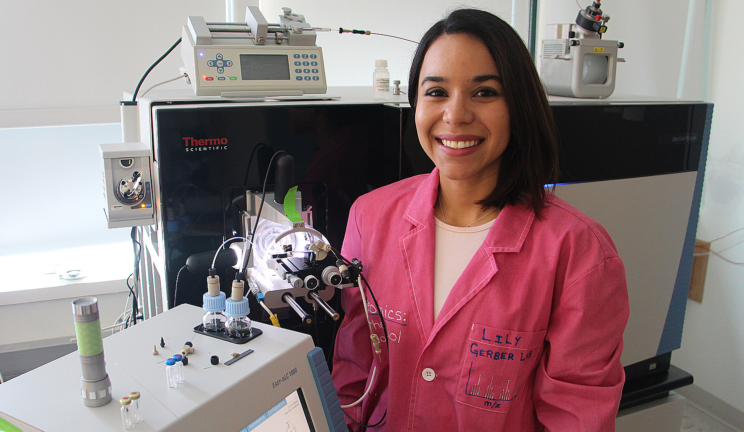 Lilian Kabeche, a postdoctoral researcher in genetics in Scott Gerber's lab at Dartmouth's Norris Cotton Cancer Center and a recent Geisel PhD graduate.