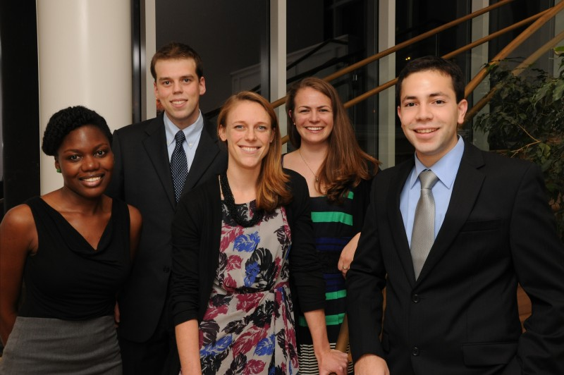 Six members of the Class of 2015 were selected as the Rolf C. Syvertsen Scholars for 2014-2015 academic year this fall, with one of the students, Fadzai Chinyengetere (far left), also honored as Syvertsen Fellow.  The five of the scholars shown at a dinner in their honor at Hanover Inn include (from left) Chinyentere, Ilya Bendlich, Whitney Hitchcock, Sadie Marden, and Mazin. T. Abdelghany. (photo by Jon Fox)