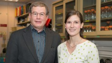 William Green, PhD, professor and chair of microbiology and immunology at Geisel, and Dartmouth PhD candidate Megan O'Connor.