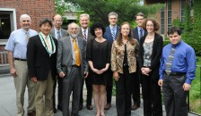The 2015 Geisel Academy of Master Educators honorees. Back row (left to right): Peter A. Mason, Cantwell Clark, Oglesby H. Young, John Dick, Hugh F. Huizenga. Front row (left to right): Alan T. Kono, Harold M. Swartz, Sharona Sachs, Sarah G. Johansen, Kelly A. Keiffer, and Harley P. Friedman. Not pictured: E. Ann Gormley. Photo by Jon G. Fox.