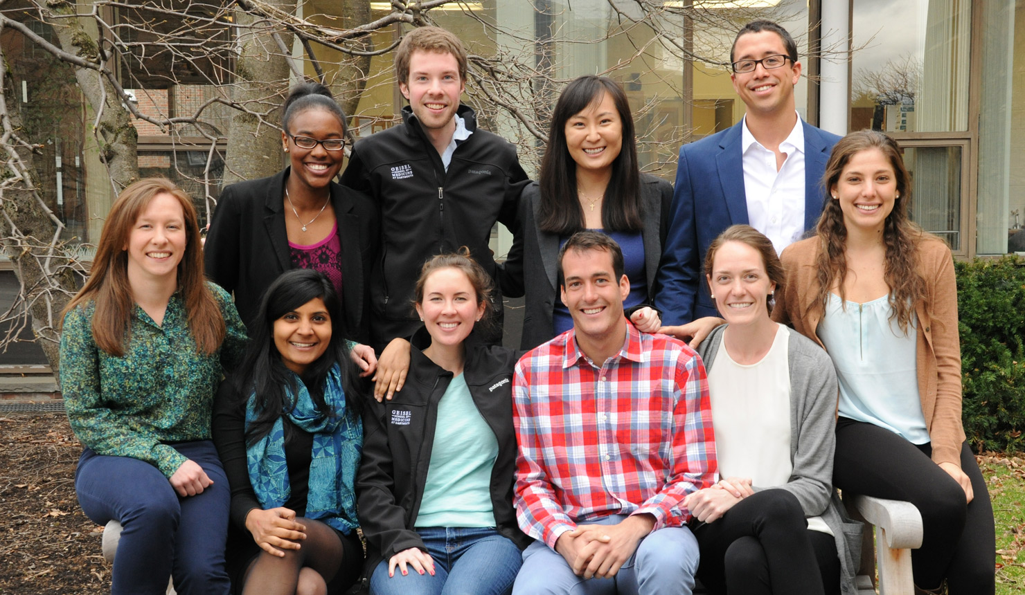 Ten first-year students from the Geisel School of Medicine at Dartmouth will lead projects for underserved communities through the Schweitzer Fellows Program. Front row, left to right: Ashley Hamel, Sumitha Raman, Claire Hogue, Brendin Beaulieu-Jones, Ana Rodriguez-Villa, Nayrana Carneiro. Back row, left to right: Marvah Hill Pierre-Louis, John Mascari, Ahra Cho, Alexander Soto-Edwards. Photo credit: Jon Gilbert Fox