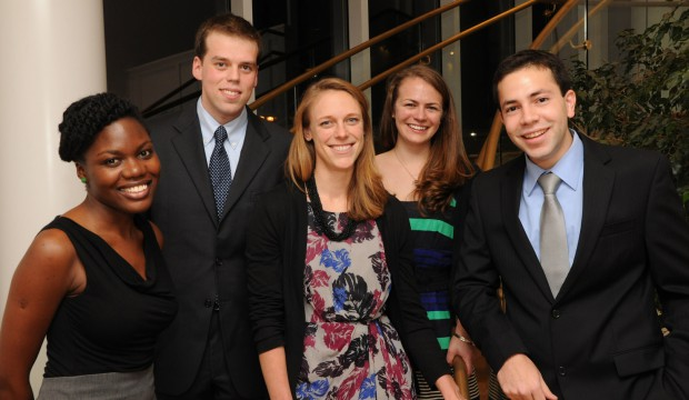 The 2014-2015 Syvertsen Scholars include (from left to right: Fadzai Chinyengtere, Ilya Bendich, Whitney Hitchcock, Sadie Marden, and Mazin T. Abdelghany, as well as Andre Koop, who is not pictured here.