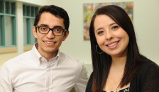 By establishing a first-ever Latino Medical Student Association Northeast chapter at Geisel School of Medicine, Freddy Vazquez '18 and Adrianna Stanley '18 are ambassadors for Geisel's growing Latino community. (Photo by Jon Gilbert Fox)