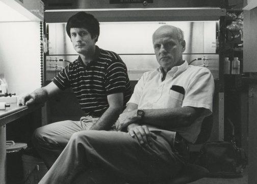 Paul Guyre (L) with Allan Munck (R) in 1984.