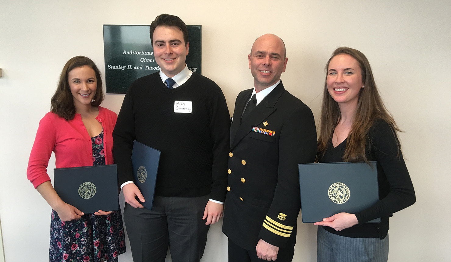 Caledonia Moore '18, Michael Connerney '18, and Claire Hogue '18 were presented their Excellence in Public Health Awards by Lt. Commander Kent A. Conforti, MLS (ASCP) of the U.S. Public Health Service.