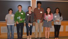 Left to right: Emily Stephens, Brain Bee Coordinator, Dartmouth Graduate Student. Kai Renshaw, 1st runner up, Hanover High School, 9th grade. Daphnie Friedman, 2nd runner up, Hanover High School, 10th grade. Siddhartha Lavu, Winner of the Brain Bee, Bedford High School, 9th grade. Morgan Biele, 4th runner up, Woodstock Union High School, 9th grade. Sithara Nambiar, 3rd runner up, Bishop Guertin High School, 10th grade.