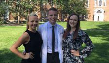 Kevin Doré '19 with his sisters Maura (left) and Kelly (right) after Geisel's White Coat Ceremony.