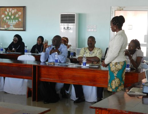 """Mariam Mazandika, LLB, MBE, answers questions following her lecture on """"Ethics and the Law in HIV/AIDS Care"""" at a regional workshop in Zanzibar."""