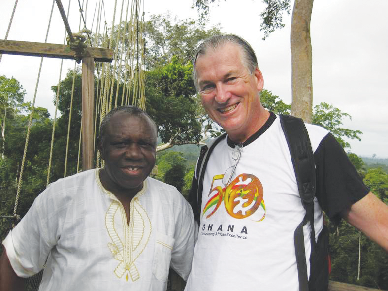 Donald Macdonald (right) works closely with the Reverend Emanuel Boateng, head of the Presbyterian Church in Ghana.