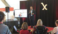 David Leander '19 presents at the Stanford Medical School Medicine X conference.