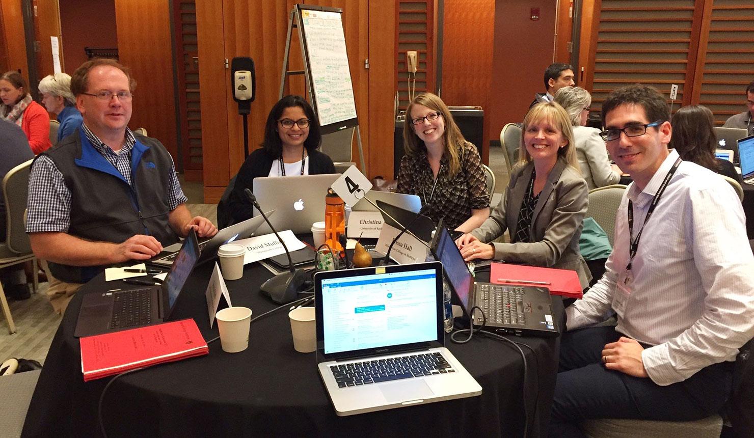Left to right: David Mullins, PhD (Geisel); Monica Sheth, MD; Christina Ames, MD; Elissa Hall, EdD; Justin Mowchun, MD (Geisel).