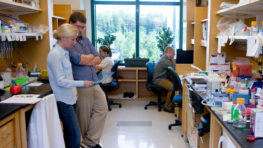 In the Kettenbach Lab: (left to right) Arminja Kettenbach, Scott Rusin, Kate Schlosser, and Adam Petrone. (photo courtesy of Kettenback Lab)