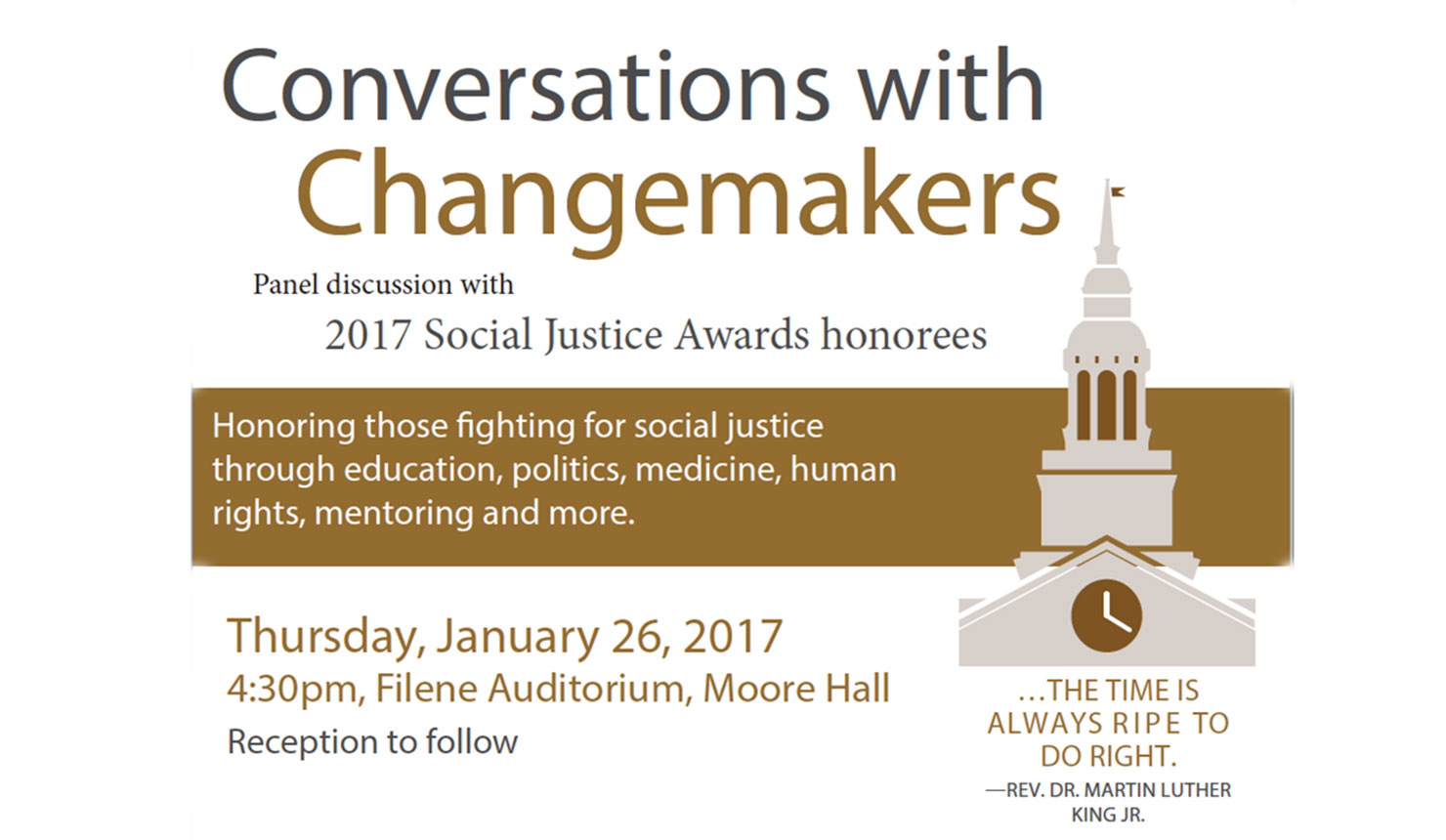 Conversations with Changemakers: Panel Discussion with 2017 Social Justice Award Honorees