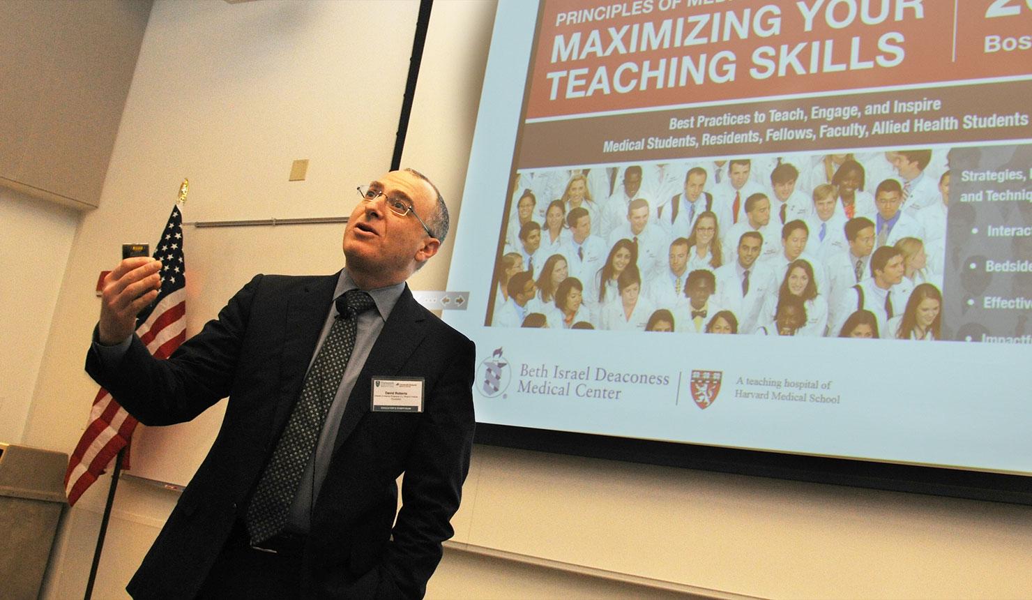 David Roberts, MD, dean for external education at Harvard Medical School, gave the keynote presentation at the 2017 Geisel-D-H Educators Symposium. (photo by Jon Gilbert Fox)