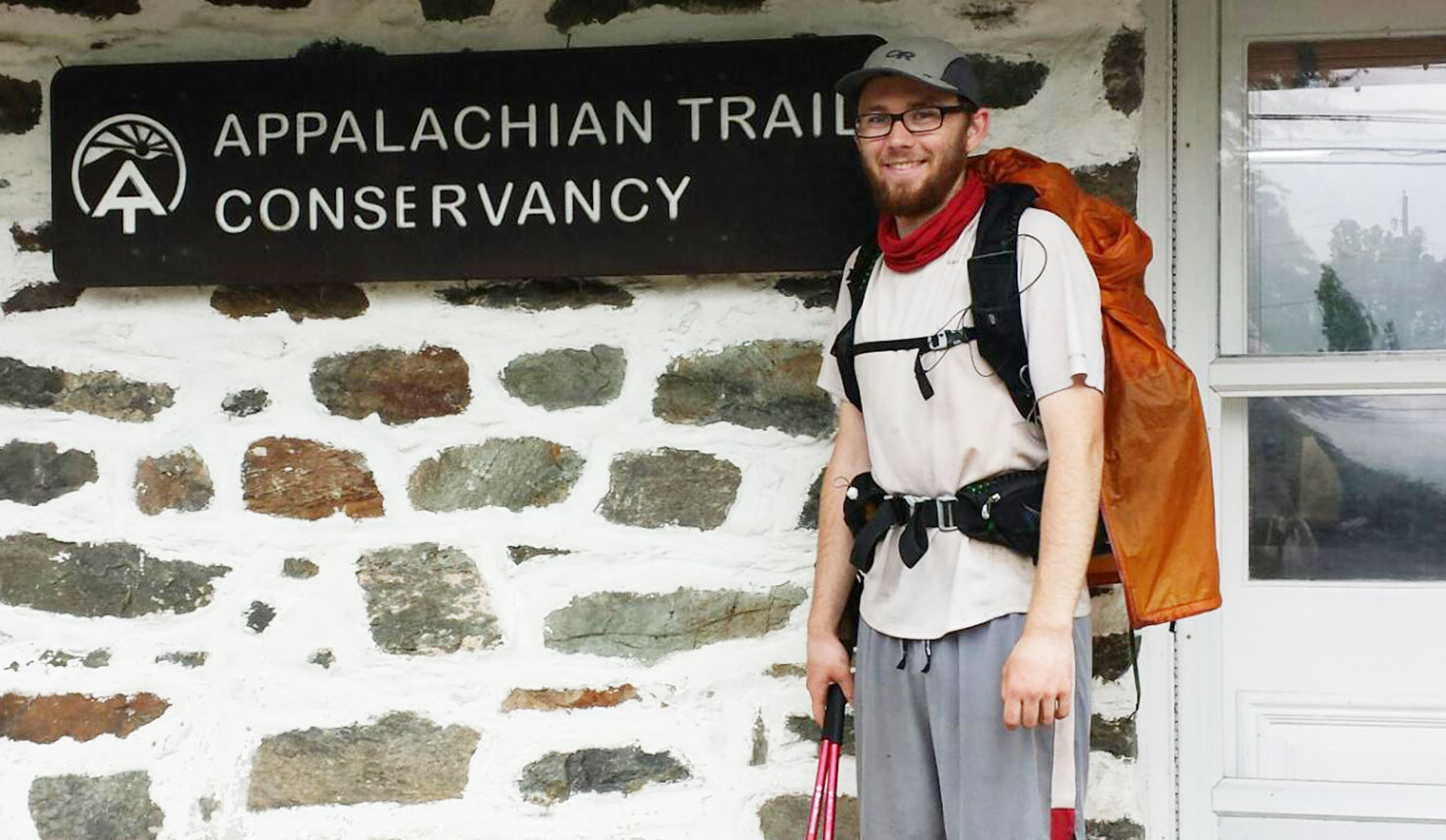 John Porter at Harper's Ferry, West Virginia, at the completion of his hike of the Appalachian Trail in May, 2016.