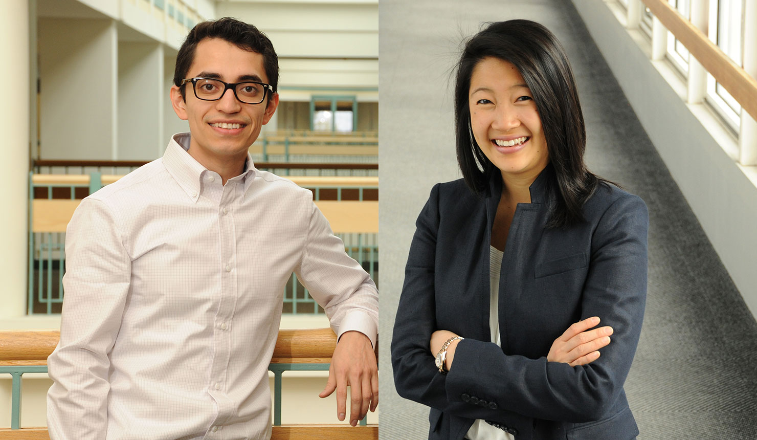 Freddy Vazquez and Lye-Yeng Wong have received fellowships from the Doris Duke Charitable Foundation and the National Institutes of Health. (photos by Jon Gilbert Fox)