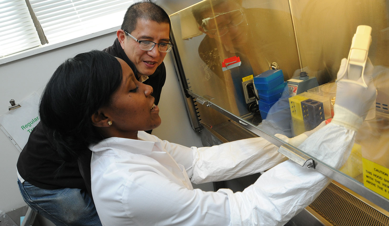 MD-PhD student Tamutenda Chidawanyika (foreground) conducts research in the laboratory of biochemistry and cell biology professor Surachai Supattapone, MD, PhD, DPhil.