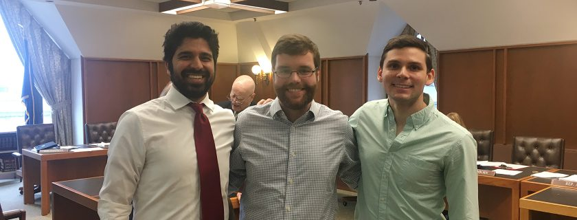 Second year med students Reza Hessabi, Alex Doering, and David Lakomy   testified at a New Hampshire state legislature hearing in support of single payer healthcare legislation.
