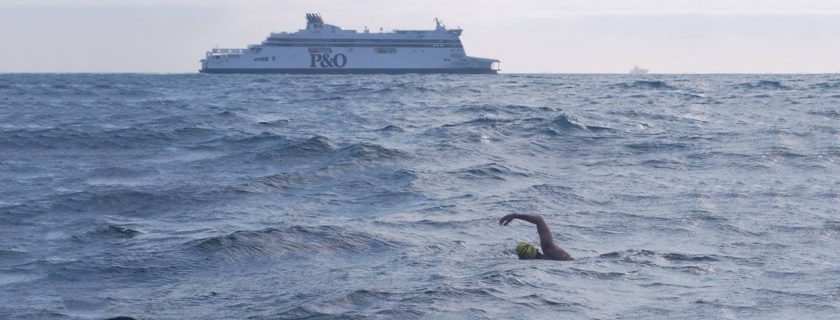 Geisel med student ka Kovacikova swimming across the English Channel. She completed the crossing in 11 hours, 28 minutes-nearly two hours under the average swim time.