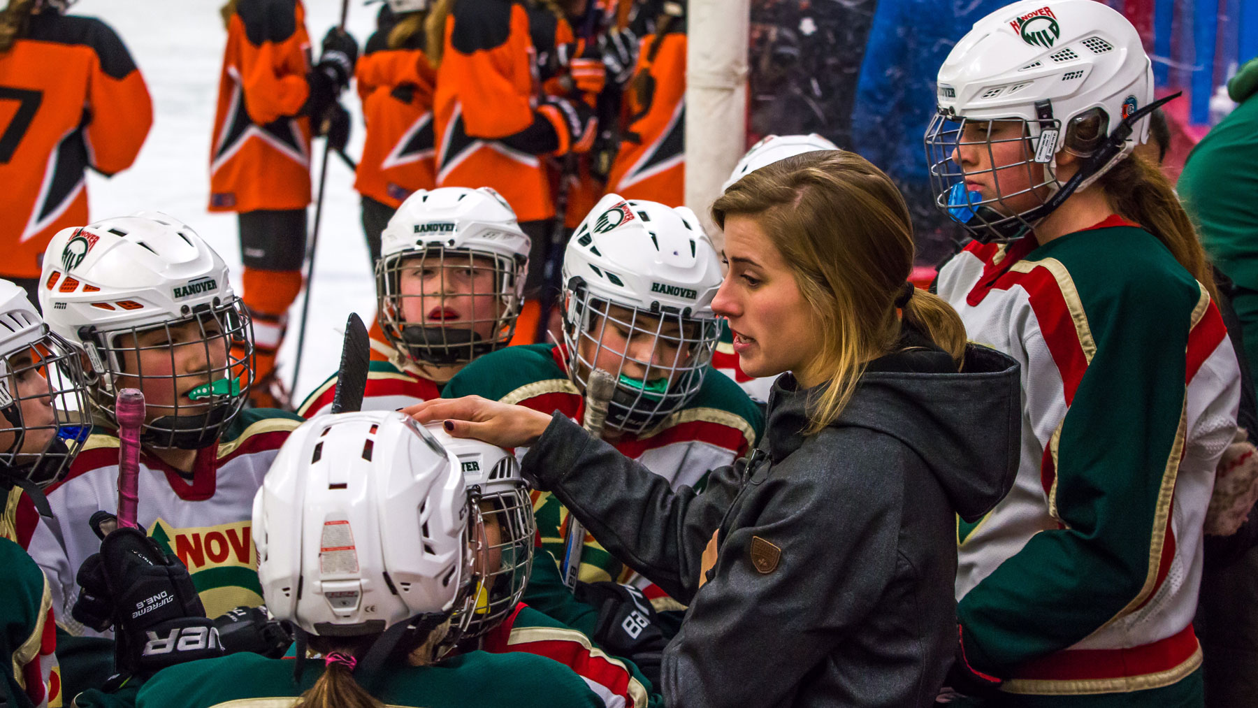 Lindsay Holdcroft '21 coaches the U12 girls' hockey team.