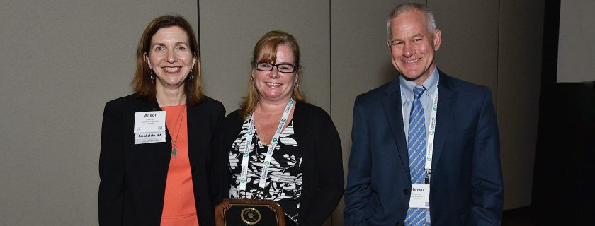 Alison Holmes, MD, Bonny Whalen, MD, and Steve Chapman, MD, received the Academic Pediatric Association's Health Care Delivery award. Not pictured Julia Frew MD, and Daisy Goodman, DNP, MPH.