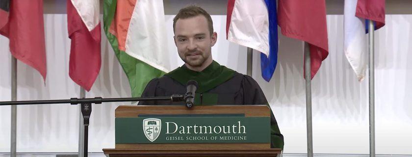 Student speaker Patrick Tolosky MED '21