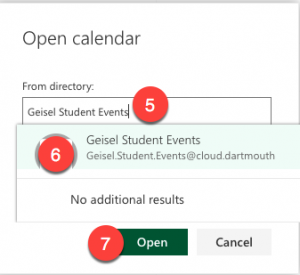 Steps 5, 6, and 7 for Opening a Shared Calendar