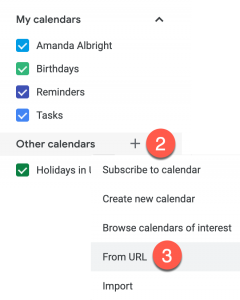 Illustrates the steps to adding a calendar from URL in Google