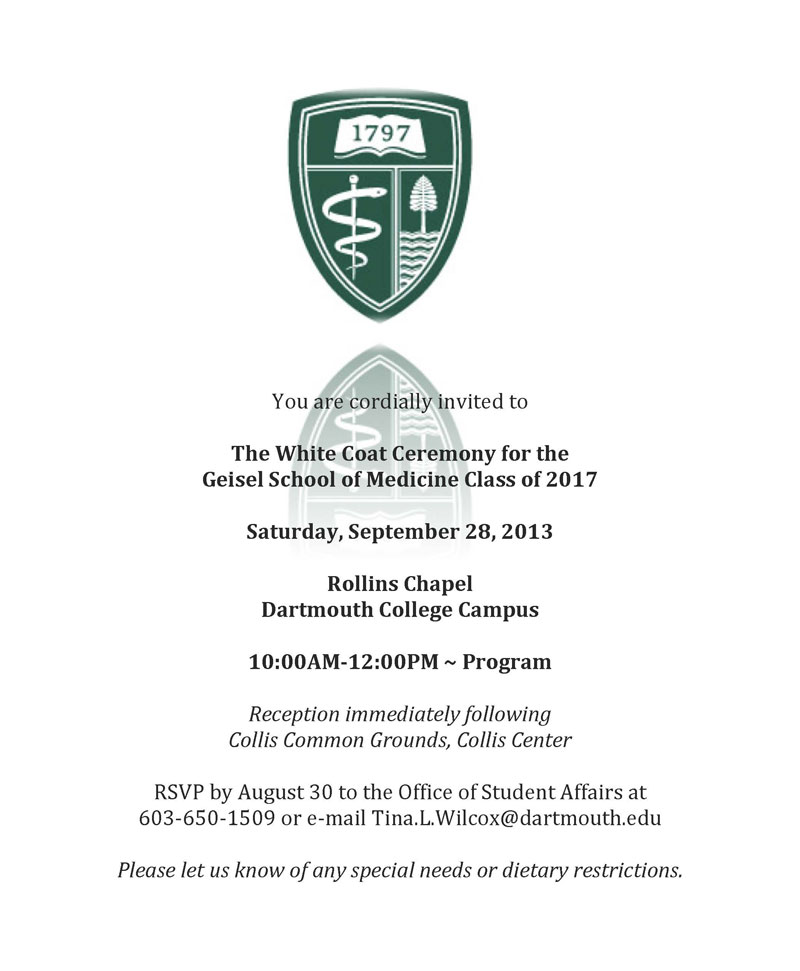 White Coat Ceremony Invitation | Down Coat